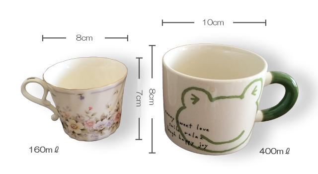 標準的なカップとマグカップの例