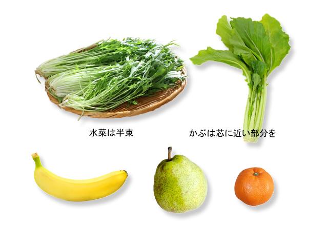 グリーンスムージー_わが家のレシピ_水菜とかぶ