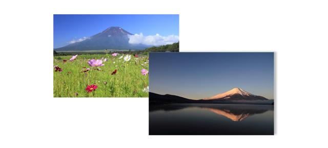 夏と冬の富士山