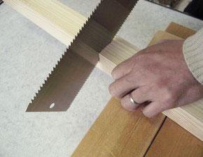 のこぎりで木材を切る、その3
