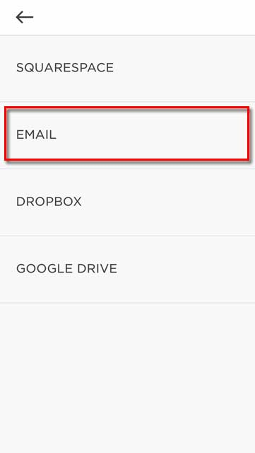 selecting email menu to add
